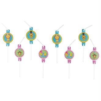 Lot de 8 pailles décorées Circus party