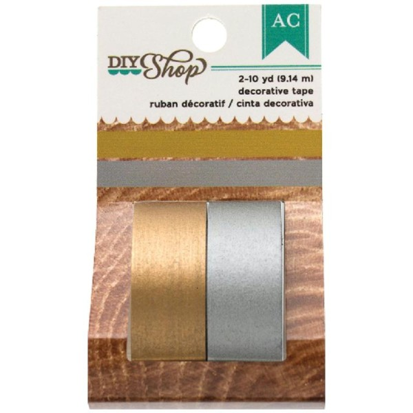 Masking tape / Adhésif décoratif / Washi tape OR ET ARGENT - Photo n°1