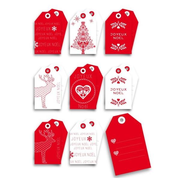 Etiquettes Tags Noel Scandinave Lot De 8 Etiquettes Cadeaux