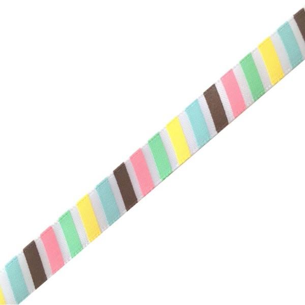 Ruban fantaisie imprimé rayures colorées - Photo n°1