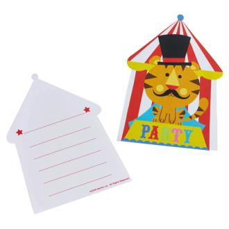 Set de 8 invitations avec enveloppes Circus Party