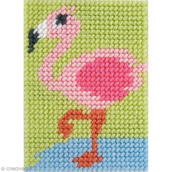 Kit canevas pour enfant - Le flamant rose - Photo n°1