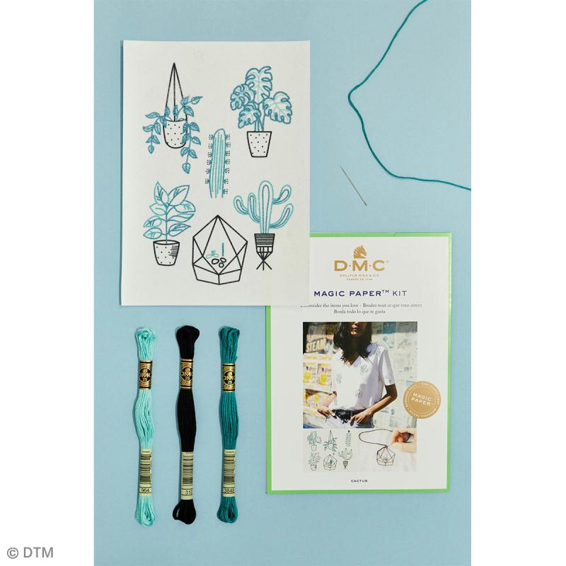 Kit broderie traditionnelle - DMC Magic Paper - Cactus Collection - 5 pcs - Photo n°2