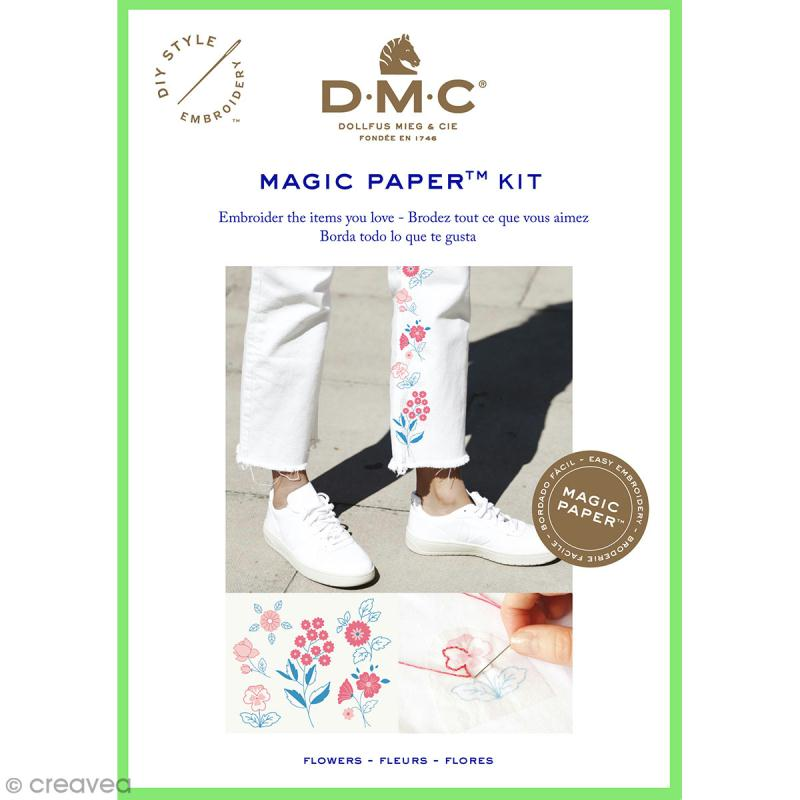 Kit broderie traditionnelle - DMC Magic Paper - Flowers Collection - 5 pcs - Photo n°1