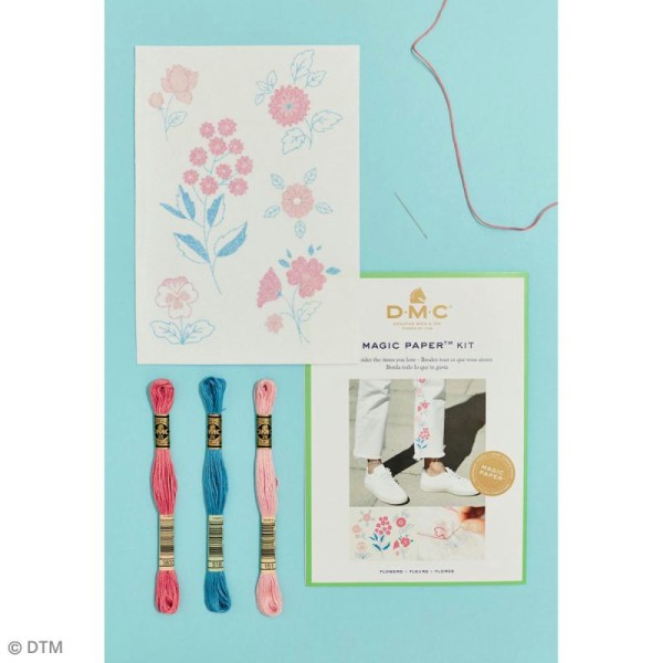 Kit broderie traditionnelle - DMC Magic Paper - Flowers Collection - 5 pcs - Photo n°2
