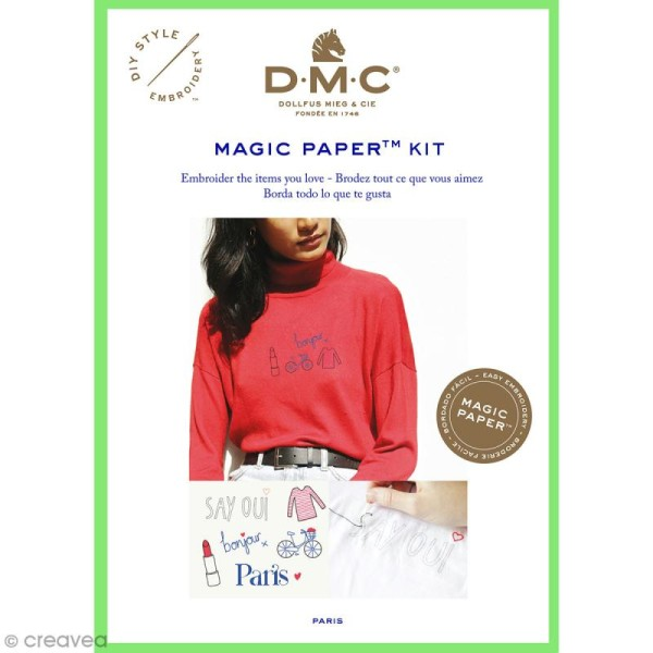 Kit broderie traditionnelle - DMC Magic Paper - French Collection - 5 pcs - Photo n°1