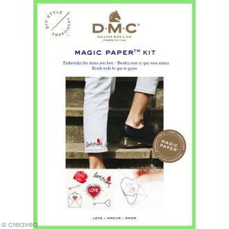 Kit broderie traditionnelle - DMC Magic Paper - Love Collection - 5 pcs