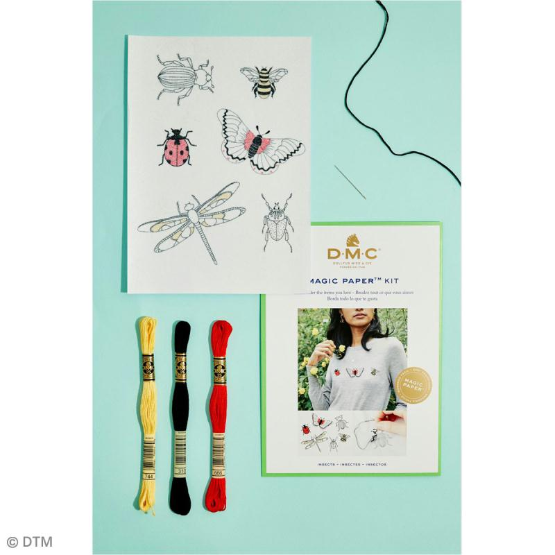 Kit broderie traditionnelle - DMC Magic Paper - Insect Collection - 5 pcs - Photo n°2