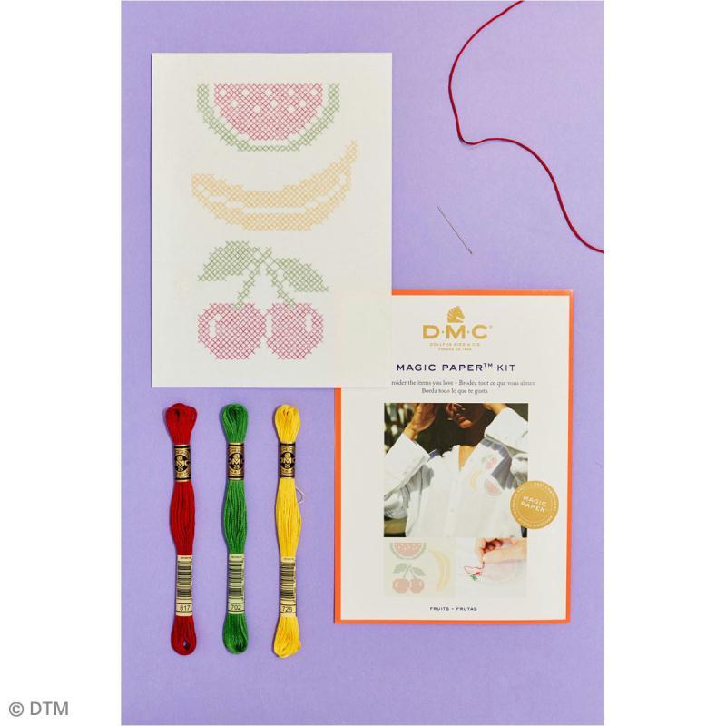 Kit broderie point de croix - DMC Magic Paper - Fruits Collection - 5 pcs - Photo n°2