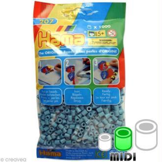 Perles Hama Midi diam. 5 mm - bleu clair x1000