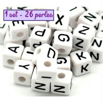 Perles Alphabet - 1 set - 26 perles en acrylique 10mm
