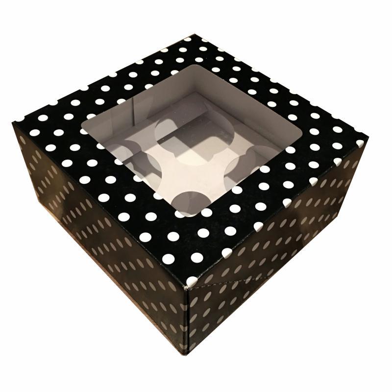 Bo te cupcakes avec fen tre noire imprim e pois blanc for Regarder par la fenetre