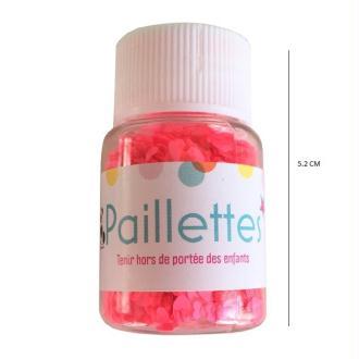 Paillettes cœur - coloris rose fluo- 10 grammes