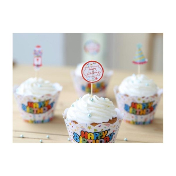 Sur caissettes à gâteaux + topper Happy birthday lot de 12 - Photo n°1