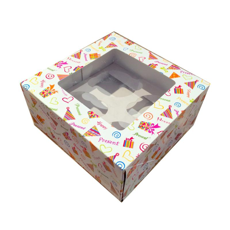 Bo te cupcakes avec fen tre imprim e motifs de f te for Decoration de fenetre