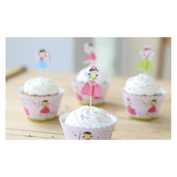 Lot de 12 Sur caissettes à gâteau avec topper thème princesse - Photo n°1