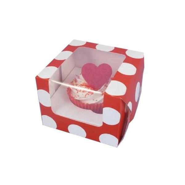 Boîte à cupcake avec fenêtre - rouge à pois blanc - Photo n°1