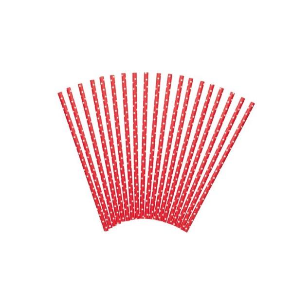 Lot de 24 pailles décorées - rouge à pois blanc - Photo n°1
