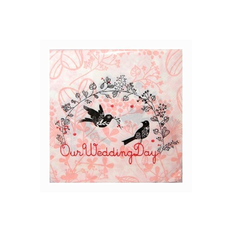 Lot de 20 serviettes en papier mariage our wedding day serviettes en papier creavea - Serviette en papier mariage ...