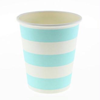 Lot de 8 gobelet en carton - bleu et blanc