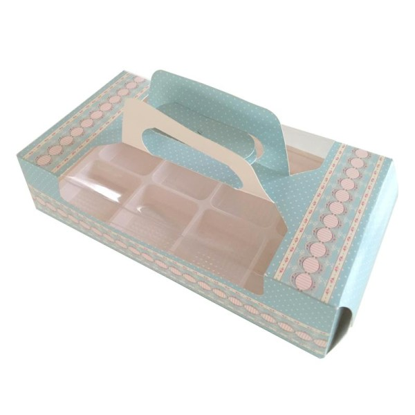 Boîte à pâtisseries imprimée fleurs et pois - Photo n°1