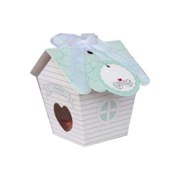Kit boîte à confiseries nichoir à oiseaux avec ruban et étiquette - Photo n°1