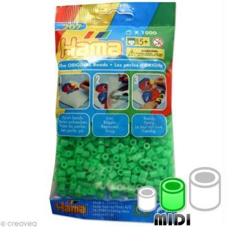 Perles Hama Midi diam. 5 mm - vert fluo x1000