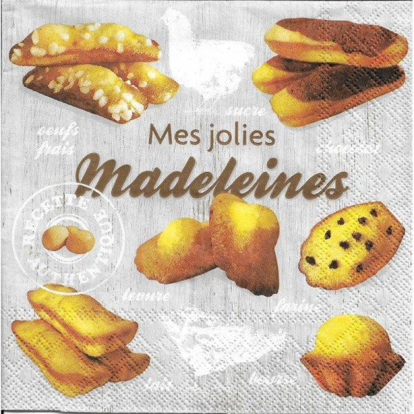 4 Serviettes en papier Madeleines Format Lunch - Photo n°1