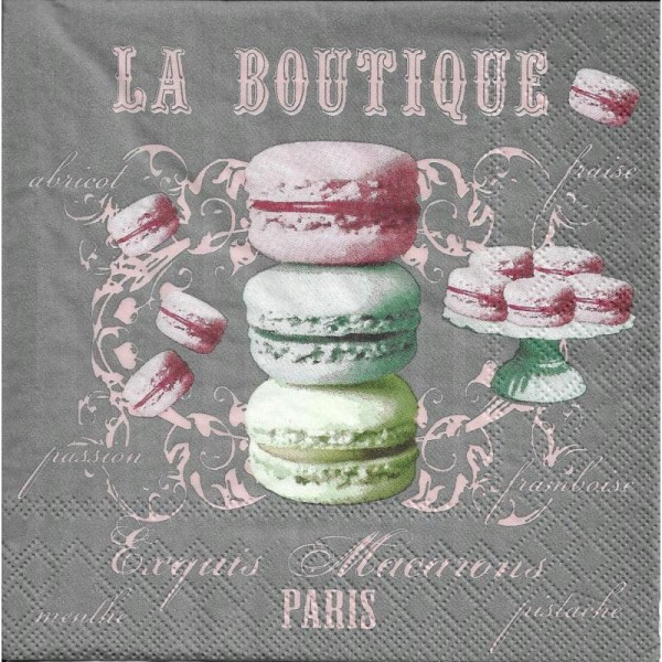 4 Serviettes en papier La Boutique Macarons Format Lunch - Photo n°1