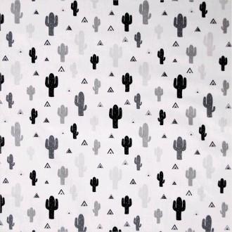 Popeline 100% coton dessin CACTEE NOIR BLANC 160cm 110gr/m² . x1m