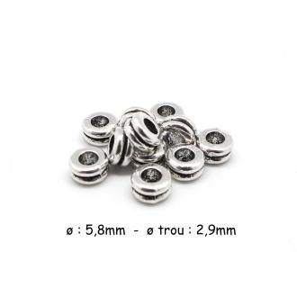 50 Perle Rondelle Argenté En Métal Strié 6mm à Gros Trou