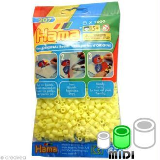 Perles Hama Midi diam. 5 mm - jaune clair x1000