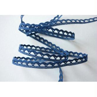 Dentelle ruban bleu jean 8 mm coton fin