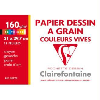 Pochette de papier dessin - 21x29,7 - Couleurs vives à grain - 160g.