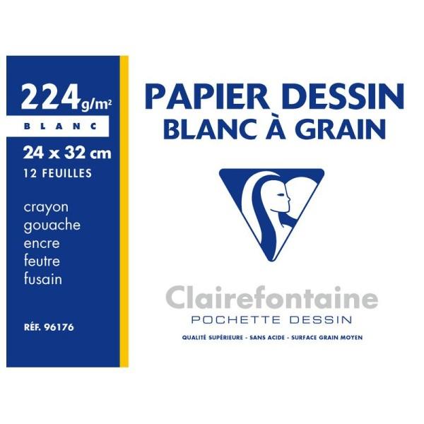 Pochette de papier dessin - 24x32 - Blanc à grain - 224g. - Photo n°1