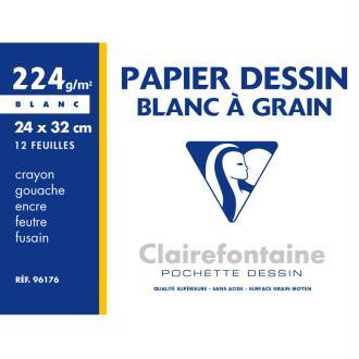 Pochette de papier dessin - 24x32 - Blanc à grain - 224g.