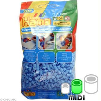 Perles Hama Midi diam. 5 mm - bleu pastel x1000