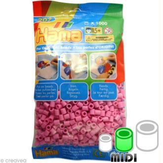 Perles Hama Midi diam. 5 mm - rose bonbon x1000