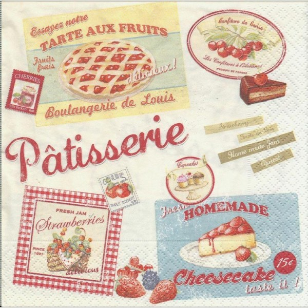 4 Serviettes en papier Pâtisserie Vintage Home Collection Fruits Format Lunch - Photo n°1
