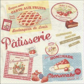 4 Serviettes en papier Pâtisserie Vintage Home Collection Fruits Format Lunch