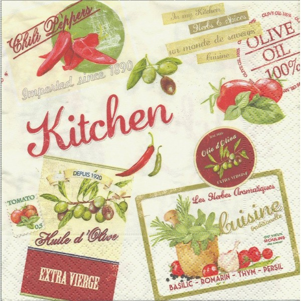 4 Serviettes en papier Cuisine Piment Olive Vintage Home Collection Kitchen Format Lunch - Photo n°1