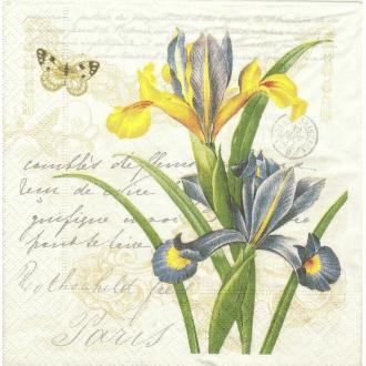 4 Serviettes en papier Botanique Fleur Iris Rose Lilas Format Lunch