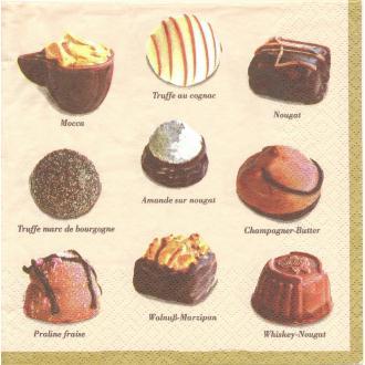 4 Serviettes en papier Chocolats Liqueur Praline Format Lunch