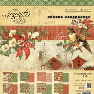 24 papiers fantaisis 30 x 30 cm Graphic 45 WINTER WONDERLAND
