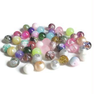 Lot De  50 Perles En Verre  8Mm (A)
