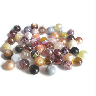 Lot De  50 Perles En Verre  8Mm (B)