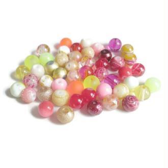 Lot De  50 Perles En Verre  8Mm (c)