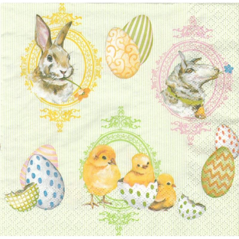 4 serviettes en papier p ques poussin lapin mouton format lunch serviette en papier paques - 4 images 1 mot poussin lapin ...