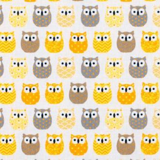 Tissu coton cretonne mini hiboux - Jaune & gris- Par 50cm - Oeko-Tex®
