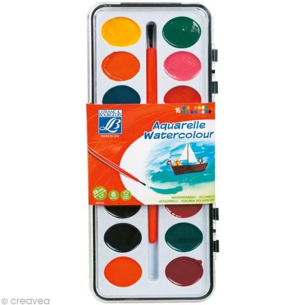 Boite Aquarelle Lefranc Bourgeois - 16 couleurs + 1 pinceau - Photo n°1